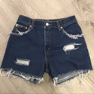 Levi's High Waist Relaxed Distressed Shorts